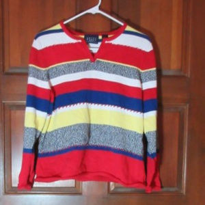 CRAZY HORSE Striped Knit Stitched Sweater Large